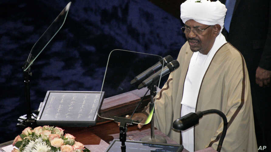 Incumbent President Omar al-Bashir, recently re-elected in a landslide that extended his 25-year rule, speaks after being sworn in at the Sudanese National Assembly in Khartoum, Sudan, June 2, 2015.
