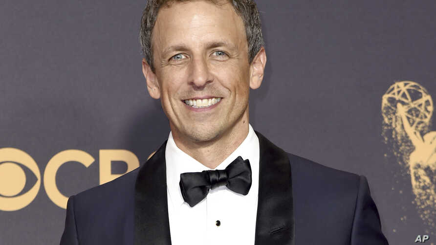 FILE - Seth Meyers arrives at the 69th Primetime Emmy Awards in Los Angeles, Sept. 17, 2017.
