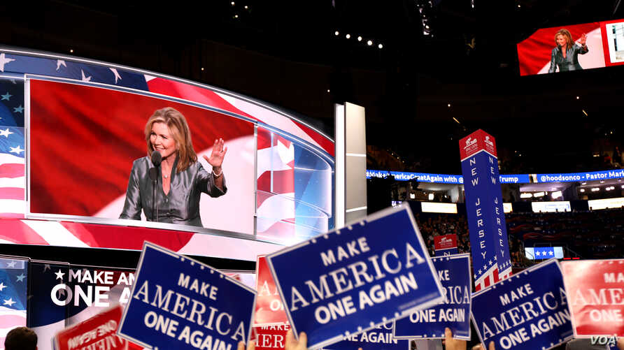 """U.S. Rep. Marsha Blackburn speaks on the final night of the Republican National Convention in Cleveland, Ohio. The theme of the night was """"Make American One Again."""" (A. Shaker/VOA)"""
