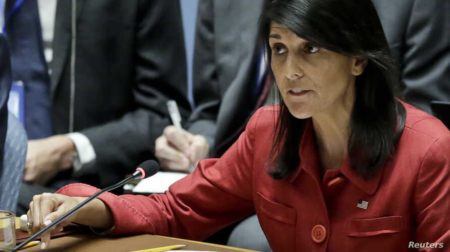 United States U.N. Ambassador Nikki Haley at a United Nations Security Council meeting, July 5, 2017. Haley will travel to Vienna Wednesday on a fact-finding mission concerning the Iran nuclear deal.