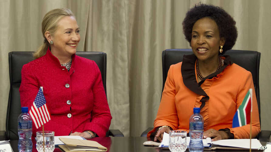 U.S. Secretary of State Hillary Rodham Clinton meets with South Africa's Foreign Minister Maite Nkoana-Mashabane at the US-South Africa Business Partnership Summit in Pretoria, South Africa, on Aug. 7, 2012.