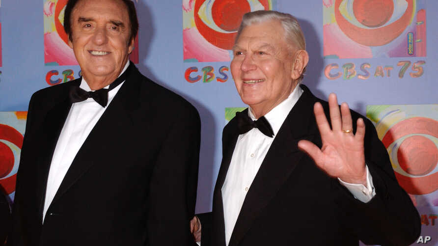 FILE - Actors Jim Nabors (L) and Andy Griffith arrive to CBS's 75th anniversary celebration, Nov. 2, 2003, in New York.