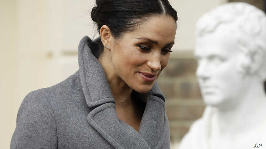 Meghan, Duchess of Sussex, leaves after visiting the Royal Variety Charity's residential nursing and care home Brinsworth House, in Twickenham, south west London, Dec. 18, 2018.