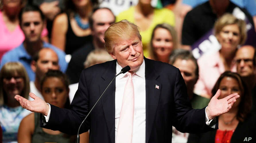 Republican presidential candidate Donald Trump speaks at a rally and picnic, July 25, 2015, in Oskaloosa, Iowa.