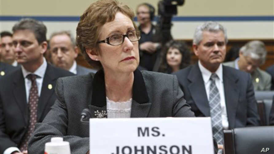 GSA Administrator Martha Johnson testified before Congress about lavish government spending at a regional conference in Las Vegas. She and two top aides resigned.(AP)