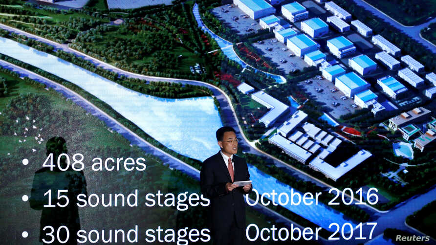 Jack Gao, Senior Vice President and CEO of International Investments and Operations Dalian Wanda Group, speaks at a business event at the Bing theatre in Los Angeles, California, Oct. 17, 2016.