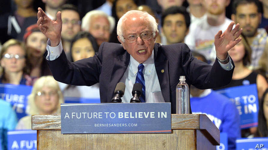 Democratic presidential candidate Sen. Bernie Sanders speaks to a gathering of supporters during a campaign rally at the Lexington Convention Center, in Lexington, Ky., May 4, 2016.