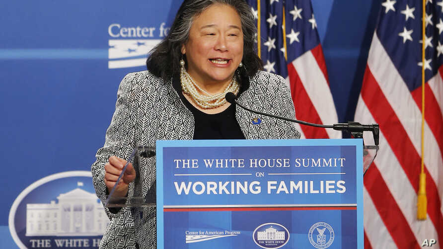 FILE - Tina Tchen, chief of staff to first lady Michelle Obama, speaks at The White House Summit on Working Families at a hotel in Washington, June 23, 2014.