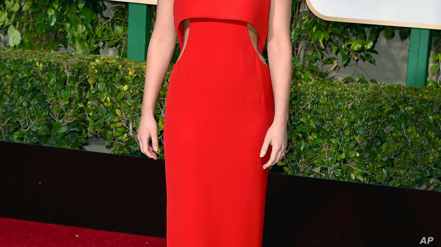 Jennifer Lawrence arrives at the 73rd annual Golden Globe Awards on Jan. 10, 2016, at the Beverly Hilton Hotel in Beverly Hills, Calif.