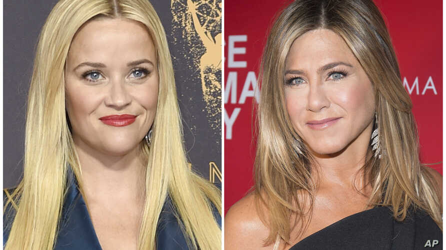 """This combination photo shows actresses Reese Witherspoon at the 69th Primetime Emmy Awards in Los Angeles, left, and Jennifer Aniston at a screening of """"Office Christmas Party"""" in New York."""