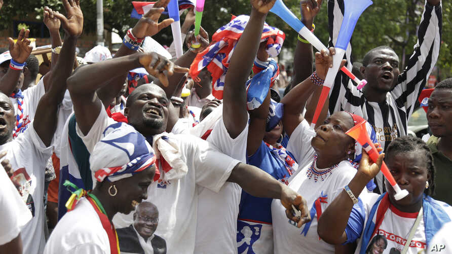 FILE - Supporters of Ghanaian President-elect Nana Akufo-Addo, of the New Patriotic Party (NPP), celebrate his election victory in Accra, Ghana, Dec. 10, 2016.