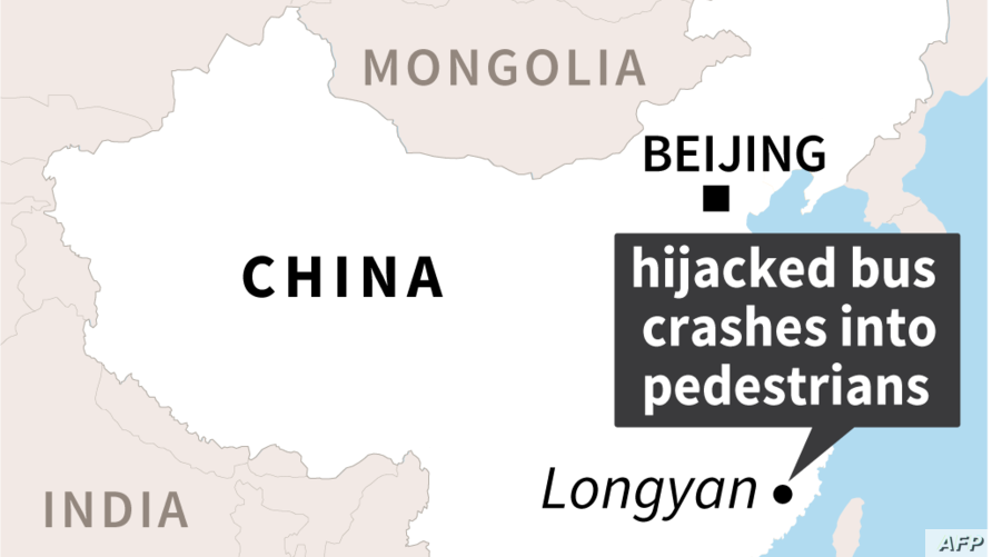 Map shoeing the location of Longyan in Fujian province,China, where a man with a knife hijacked a bus, Dec. 25, 2018.