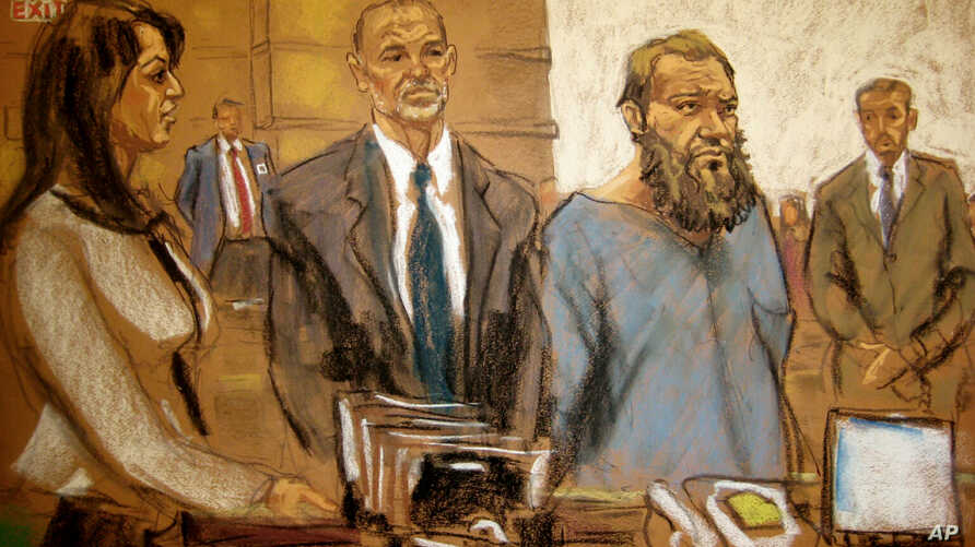 In this courtroom sketch, Muhanad Mahmoud Al Farekh, third from left, appears in federal court in New York April 2, 2015. Authorities say he traveled from Canada to Pakistan to train with al-Qaida, planning to kill American soldiers.