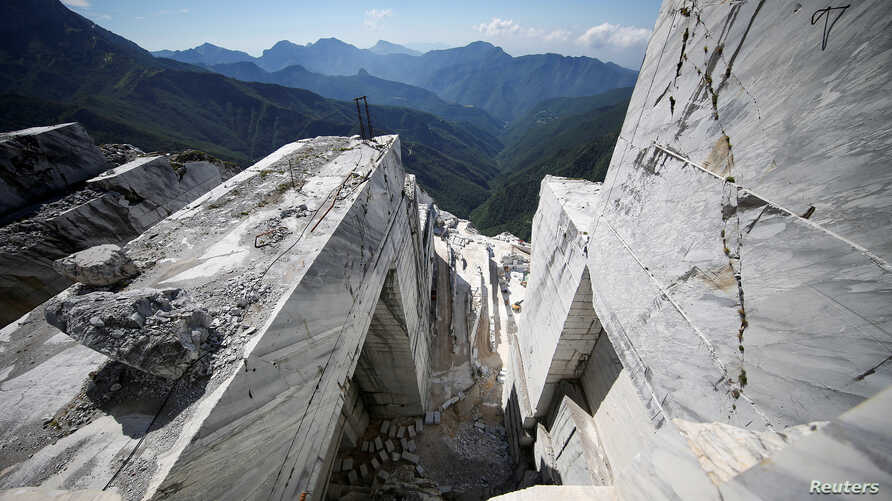 The Cervaiole marble quarry is seen on Monte Altissimo in the Apuan Alps, Tuscany, Italy, July 15, 2017.