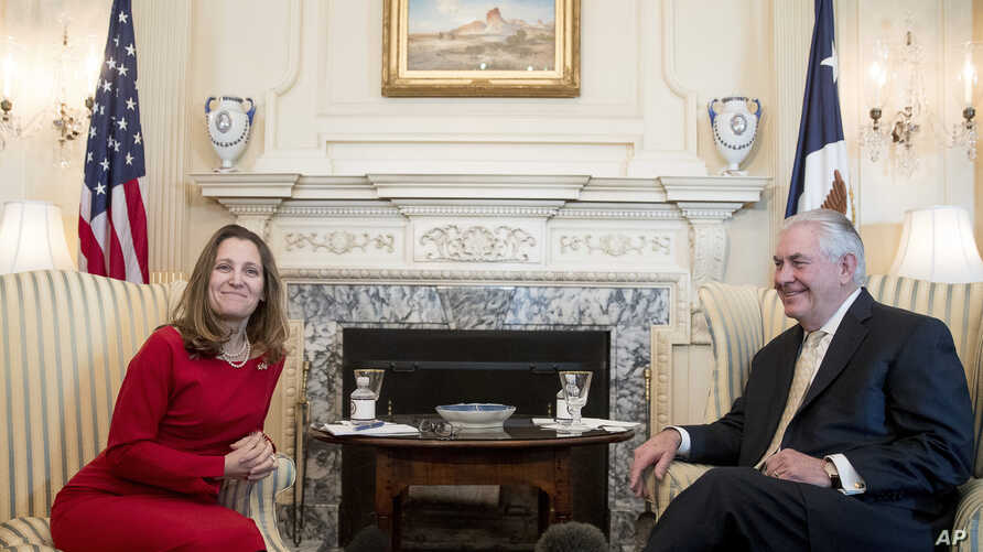 Secretary of State Rex Tillerson meets with Canadian Foreign Affairs Minister Chrystia Freeland, Feb. 8, 2017, at the State Department in Washington.