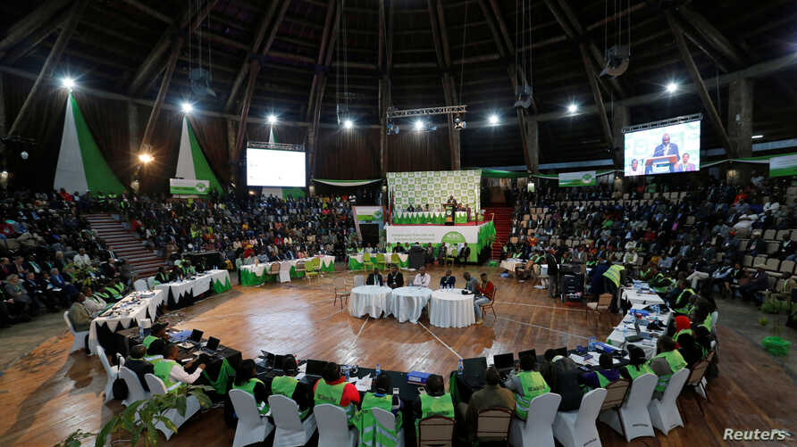 The Kenyan Independent Electoral and Boundaries Commission prepares to announce election results at the Bomas of Kenya, in Nairobi, Aug. 11, 2017.