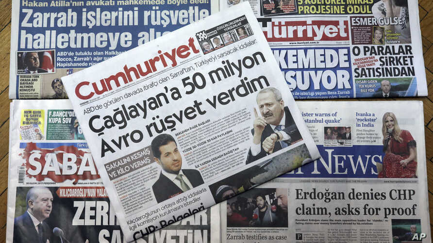 Front pages of some of Turkish newspapers with headlines concerning a trial in New York against a Turkish banker charged with violating U.S. sanctions against Iran, in Ankara, Turkey, Nov. 30, 2017.