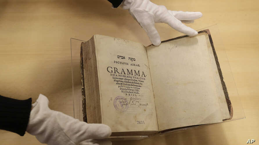 The book titled 'Mikne Avram - Peculium Abrae' is displayed at the Prague's Jewish Museum in Prague, Czech Republic, Jan. 16, 2018.