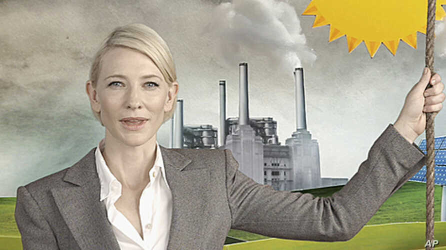 """Academy Award winner Australian Cate Blanchett is seen in a TV commercial of """"Say Yes to the carbon tax"""" in this still image taken from video, in Sydney, May 30, 2011"""