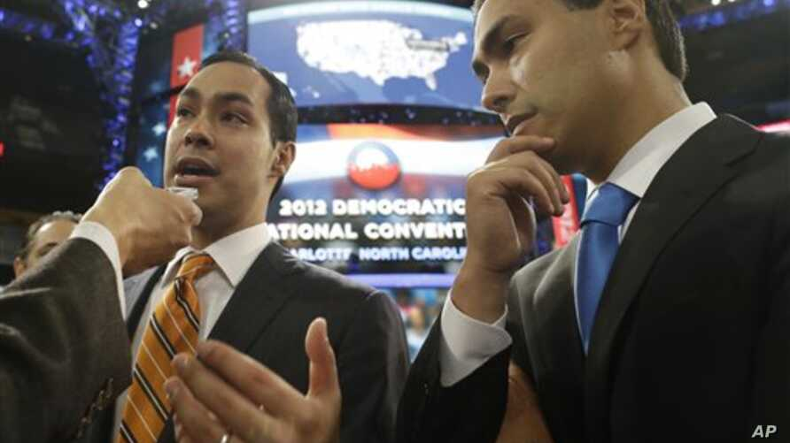 San Antonio Mayor Julian Castro (L), who will be the convention keynote speaker, and his twin brother, State Representative Joaquin Castro, who is running for U.S. Congress, are interviewed at the Democratic National Convention in Charlotte, North Ca