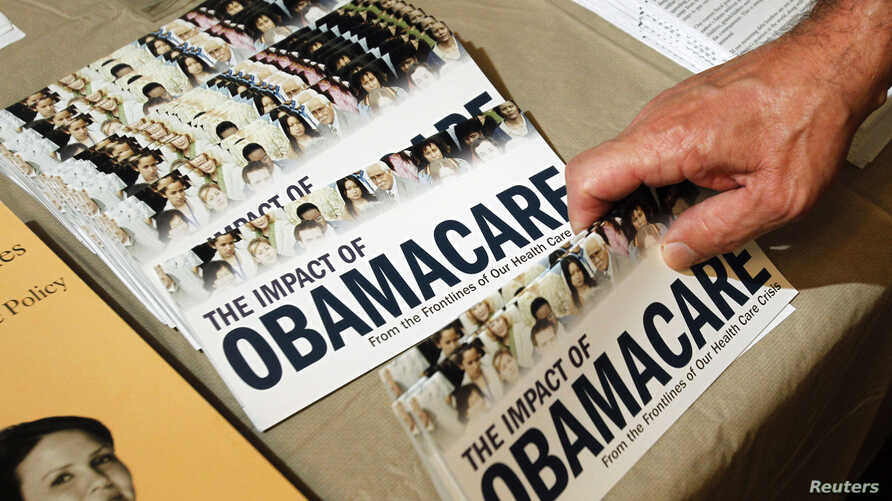 """A Tea Party member reaches for a pamphlet titled """"The Impact of Obamacare"""", at a Tea Party Rally in Littleton, New Hampshire, Oct. 27, 2012"""