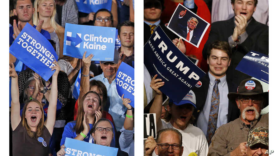 This combination of photos shows supporters of Democratic presidential candidate Hillary Clinton in Tempe, Ariz., Nov. 2, 2016, and supporters of Republican presidential candidate Donald Trump in Baton Rouge, La., Feb. 11, 2016.