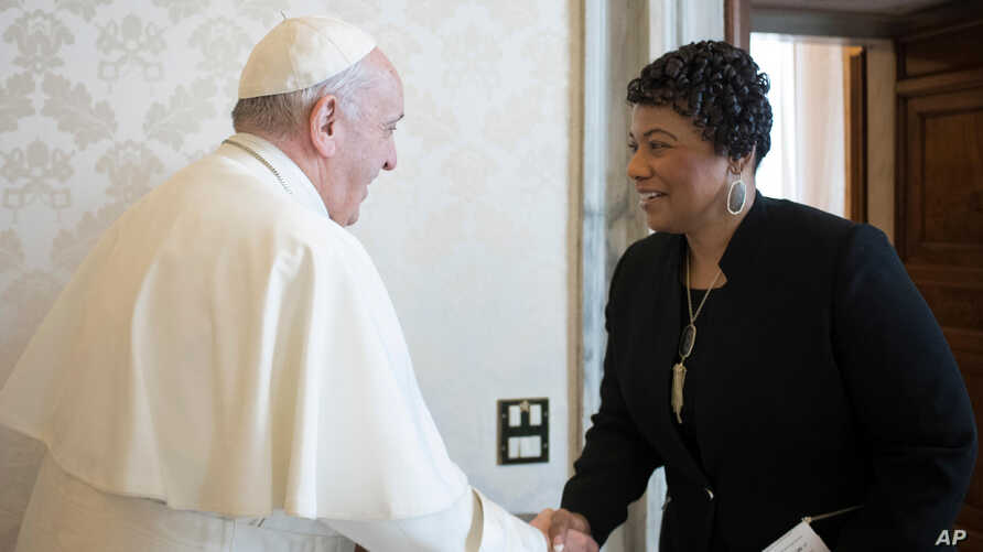 Youngest child of civil rights leaders Martin Luther King Jr. Bernice King is welcomed by Pope Francis on the occasion of their private audience, at the Vatican, March 12, 2018.
