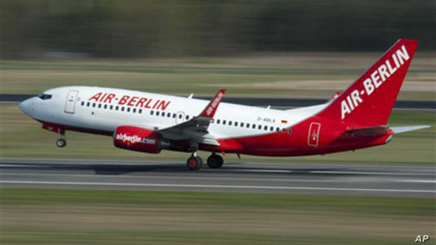 An aircraft of Air Berlin takes off at Tegel airport in Berlin, Germany, 20 Apr 2010