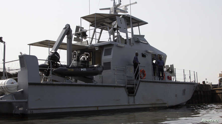 FILE - A naval boat is seen off the Atlantic coast in Nigeria's Bayelsa state December 18, 2013. Nigeria has been at the center of the high-seas piracy wave.
