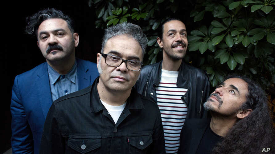 "Members of the Mexican rock band Cafe Tacvba, from left, Enrique ""Quique"" Rangel, Jose Alfredo ""Joselo"" Rangel, Emmanuel ""Meme"" del Real and Ruben Isaac Albarran pose for a portrait in Buenos Aires, Argentina, April 28, 2017."
