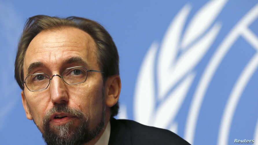 FILE - Jordan's Prince Zeid Ra'ad Zeid al-Hussein, U.N. High Commissioner for Human Rights pauses during a news conference at the United Nations European headquarters in Geneva, Oct. 16, 2014.