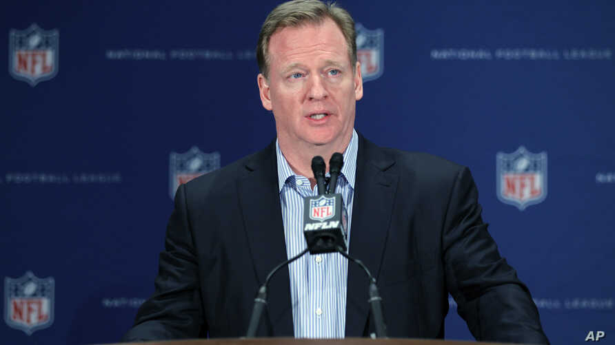 NFL Commissioner Roger Goodell talks during a press conference at the NFL owners meeting in Boca Raton, Florida, March 23, 2016.