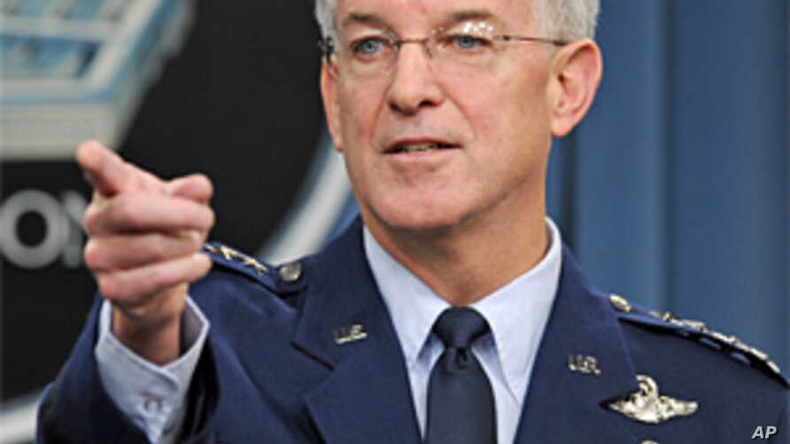 Air Force Gen. Douglas Fraser, commander of U.S. Southern Command, takes a question during a Pentagon news conference on earthquake-relief efforts in Haiti, 13 Jan, 2010