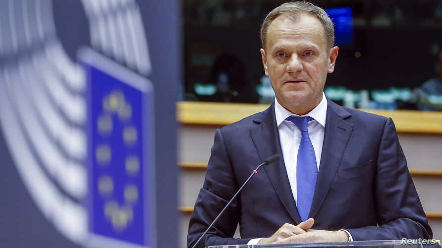 European Council President Donald Tusk speaks before the European Parliament in Brussels Feb. 24, 2016.