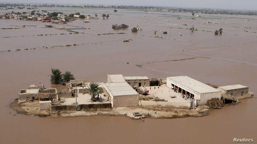 An aerial view of a flooded area in Muzzafargarh, Punjab province, September 14, 2014.