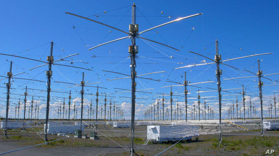 Antennas for the High Frequency Active Auroral Research Program [HAARP] - a high-energy radio physics project - are seen near Gakona, Alaska.