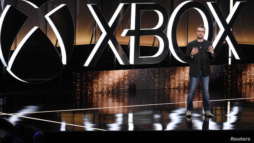 Jean Guesdon, Creative Director at Ubisoft Montreal, speaks during the Microsoft Xbox E3 2017 media briefing in Los Angeles, California, US, June 11, 2017