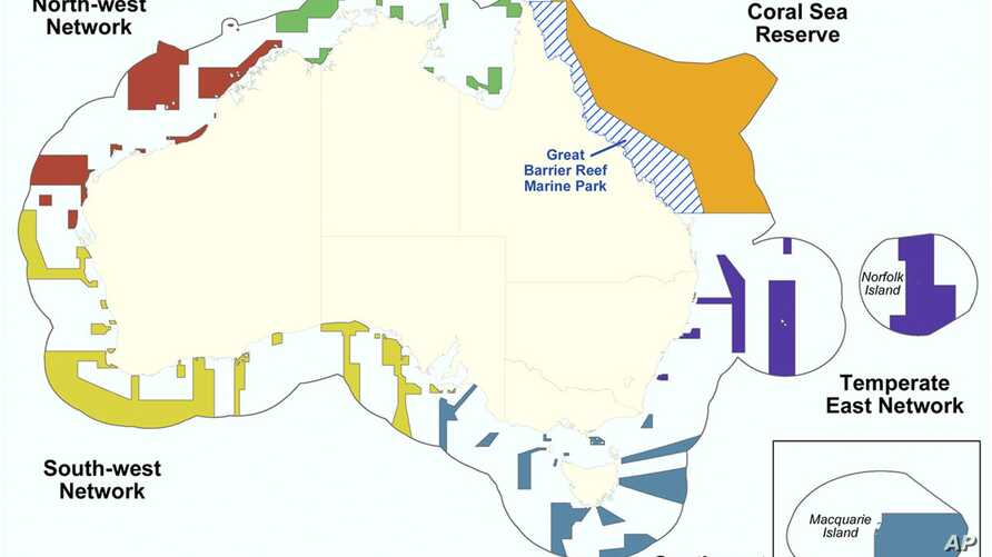 This graphic released by Department of Sustainability, Environment, Water, Population and Communities shows the proposed Commonwealth marine reserves areas around Australia.