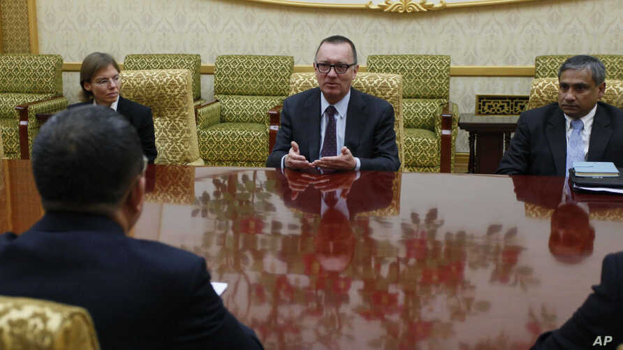 U.N. undersecretary-general for political affairs Jeffrey Feltman, center, meets with North Korean Foreign Minister Ri Yong Ho at the Mansudae Assembly Hall in Pyongyang, North Korea, Dec. 7, 2017. The senior United Nations official is on a four-day ...