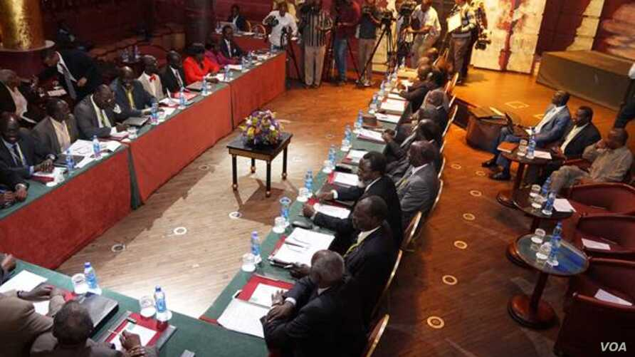 South Sudan peace negotiators meet in a night club in Addis Ababa on Jan. 13, 2014.