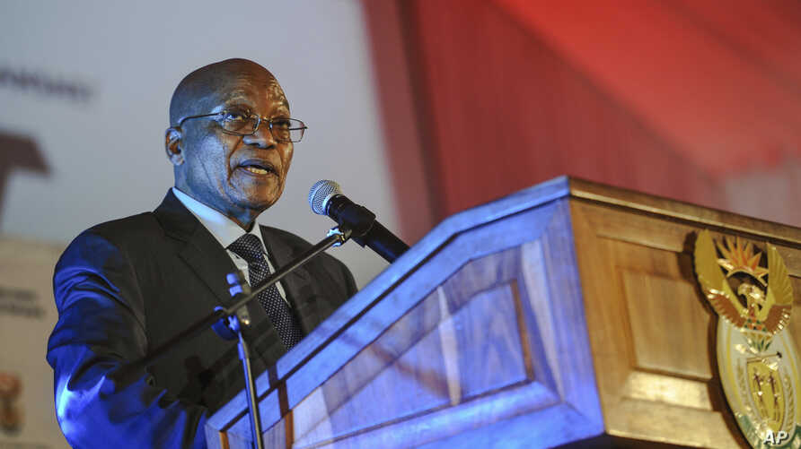 "FILE - South African President Jacob Zuma speaks at the official launch of the Trans-Africa Locomotive prototype near Pretoria, South Africa, April 4, 2017. On Tuesday, Zuma launched a new Metrorail system dubbbed ""People's Trains."""