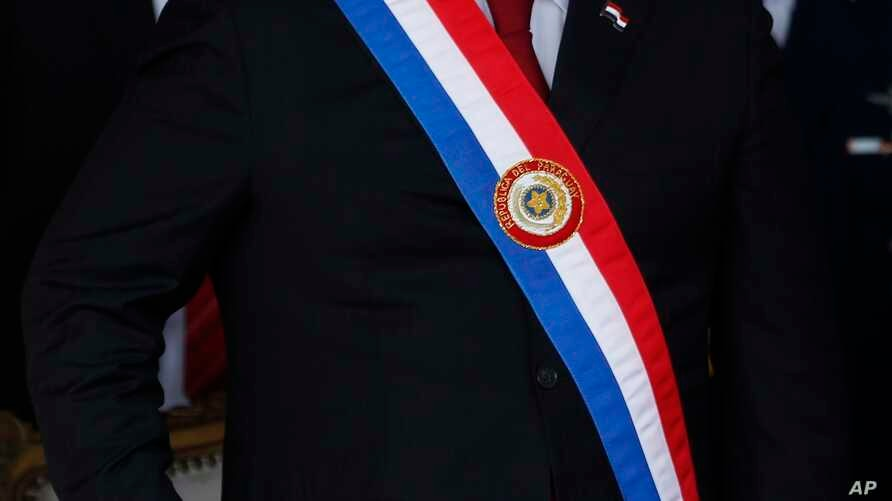 Paraguay's President Horacio Cartes participates in a military parade marking Independence Day, in Asuncion, May 15, 2018.