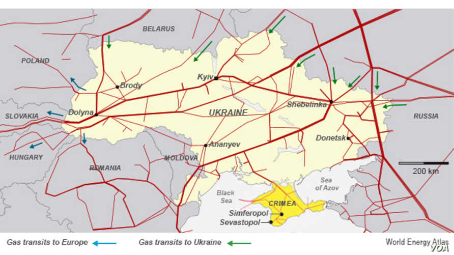Gas pipelines from Russia into Ukraine, Europe