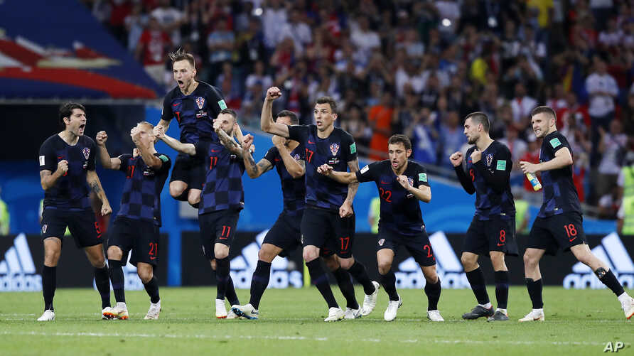 Croatian national soccer team players celebrate after winning the quarterfinal match between Russia and Croatia at the 2018 World Cup in Fisht Stadium, Sochi, Russia, July 7, 2018.
