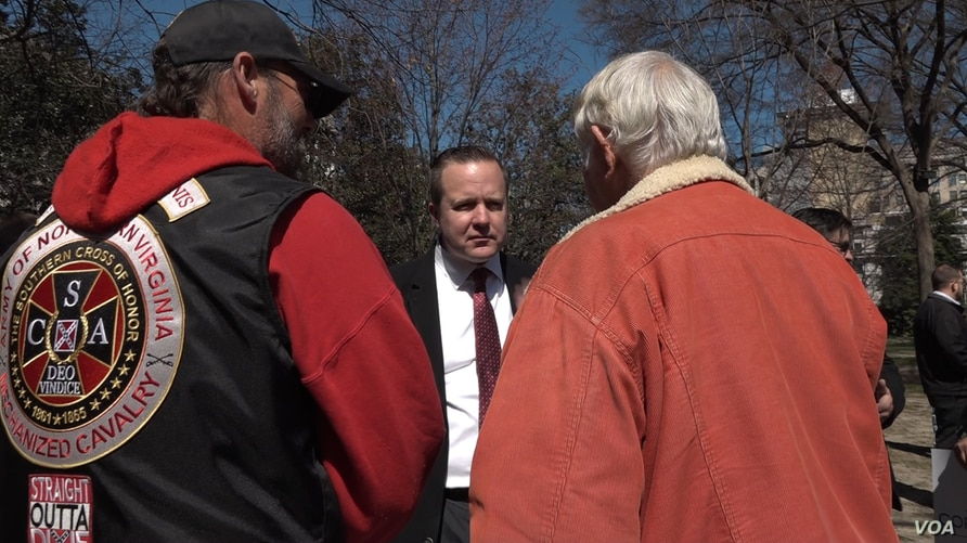 "Virginia gubernatorial candidate Corey Stewart at an ""End Sanctuary Cities Rally"" in Richmond, Virginia, March 2017. Stewart is using President Donald Trump as a model for his race to win the Republican Party nomination for governor of Virginia."