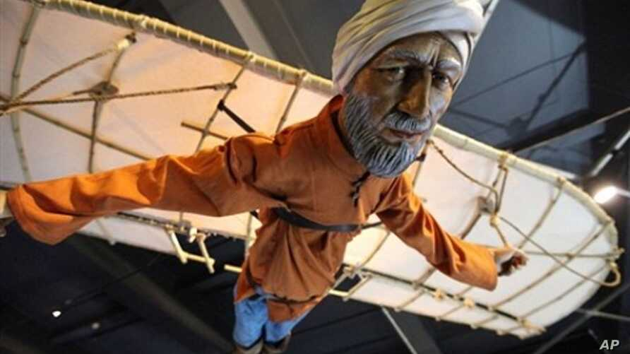A replica of the first person said to have flown with wings is displayed at the science museum in central London on January 21, 2010. The debt owed by European scholars to their Muslim counterparts on everything from water pumps and blood circulation