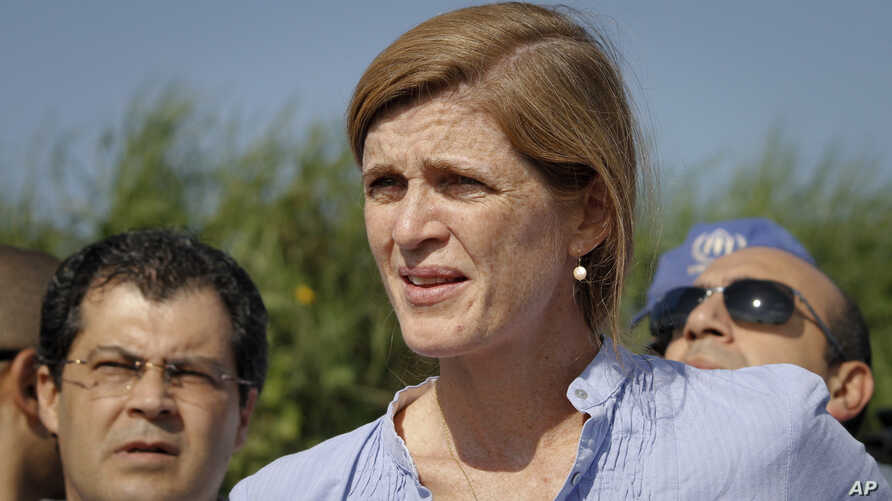"""U.S. Ambassador to the United Nations Samantha Power speaks to reporters in Juba, South Sudan, Sept. 3, 2016. Power said visiting U.N. envoys were able to see """"the human consequences of the failure of political leaders to bring peace back to their co"""