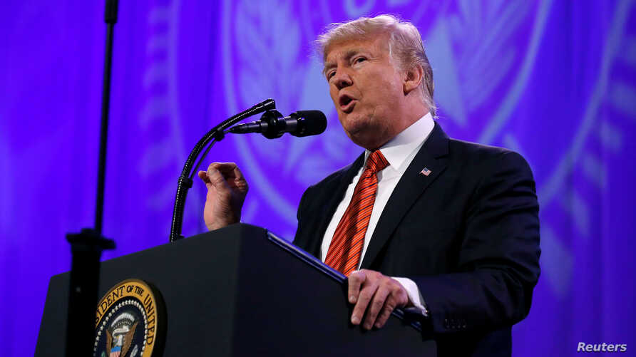 President Donald Trump speaks to the national convention of the American Legion in Reno, Nevada, Aug. 23, 2017.