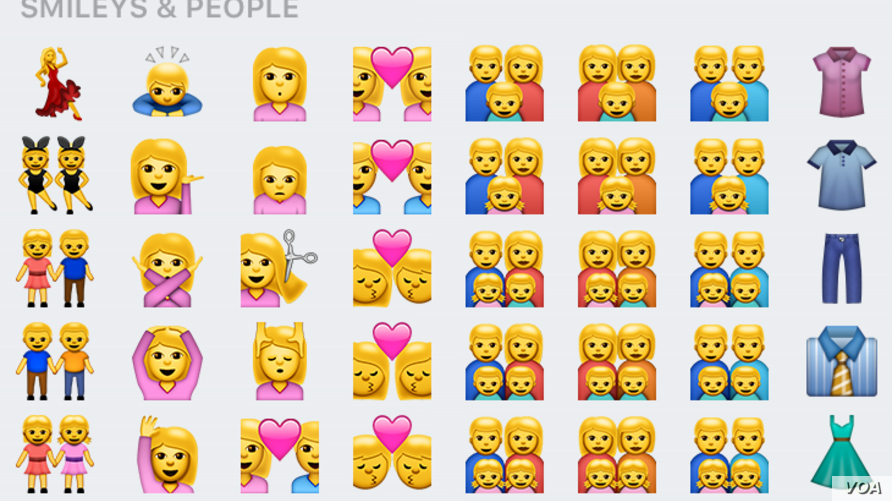 Emojis are seen in this screengrab from an iPhone.