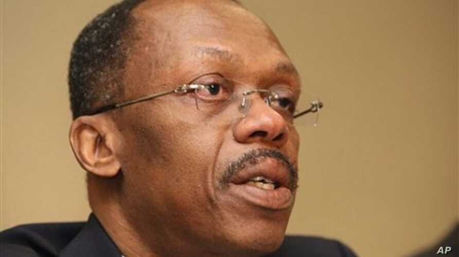 FILE -- A Jan. 15, 2010 file photo shows former Haitian President Jean-Bertrand Aristide during a press conference in Johannesburg, South Africa. (AP Photo)